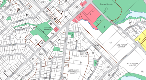 Extract of a Zoning Map from the former North Shore City Area