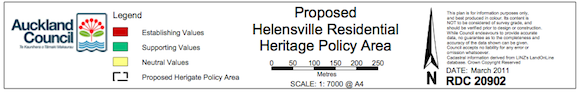 Legend for the Extent of the Helensville Residenital Heritage Policy Area