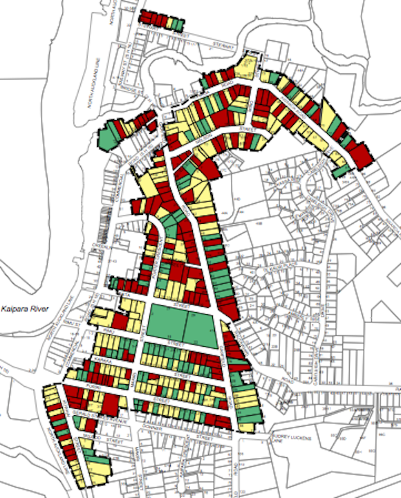The extent of the Helensville Residential Heritage Policy Area